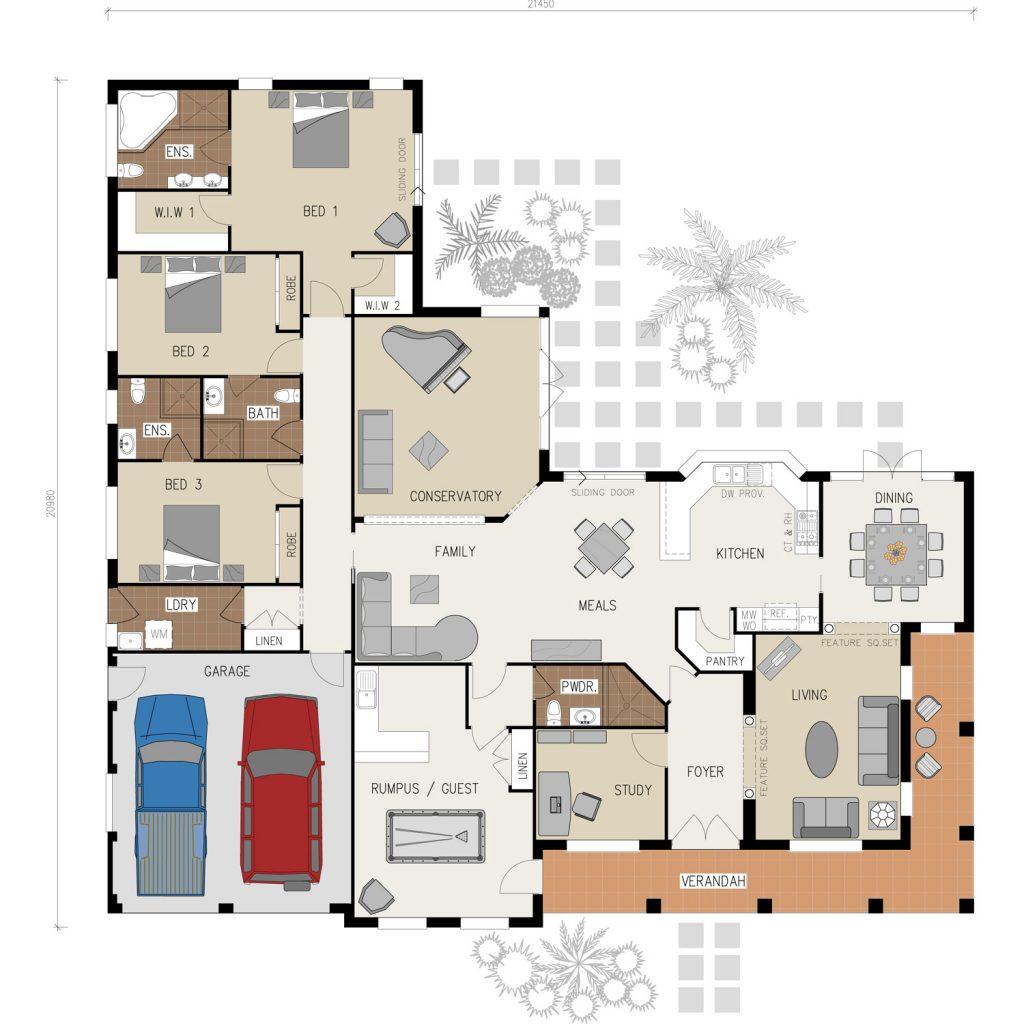 Floorplans - The Highlander | Acreage | Marksman Homes