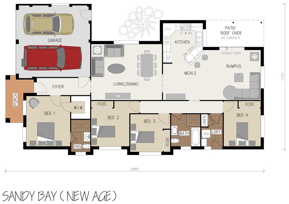 Floorplan - Sandy Bay Home Design - Single Storey