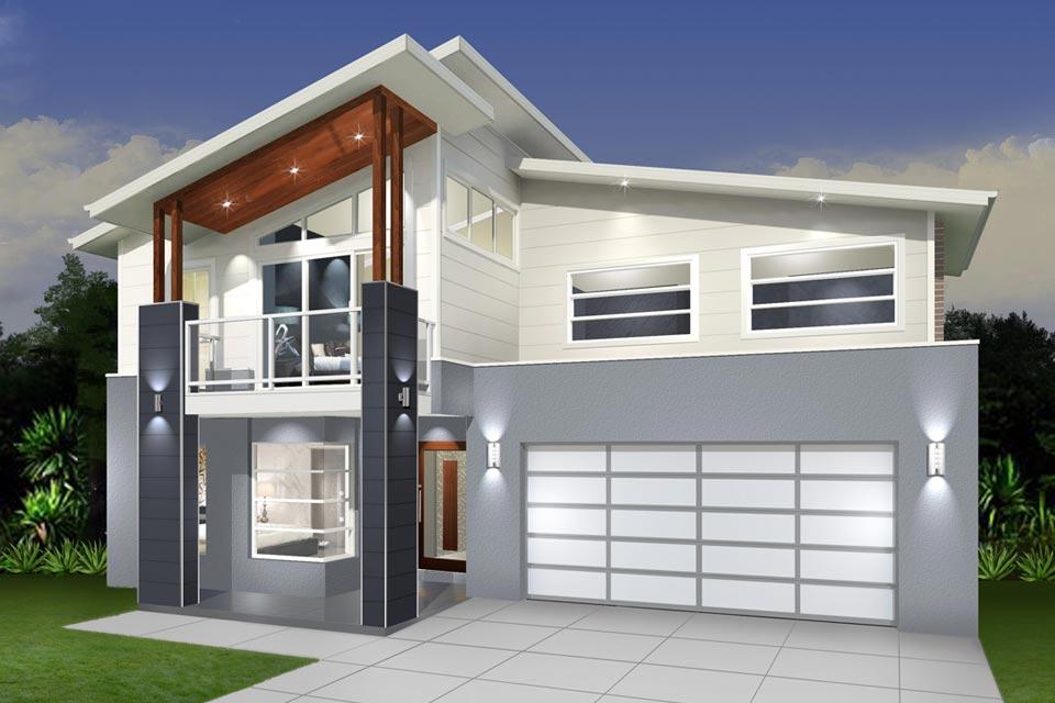 Double Storey - Daintree Cove Home Design - Modern Grey Facade
