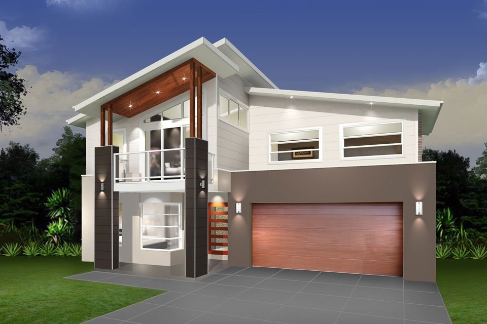 Double Storey - Daintree Cove Home Design - Modern Taupe Facade