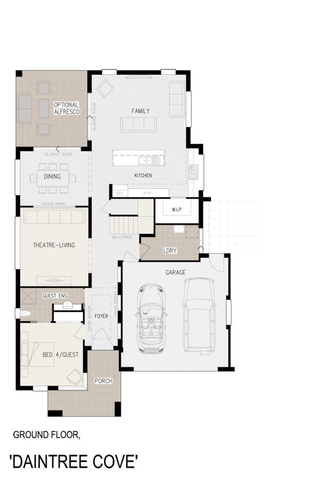 Floorplan - Daintree Cove Home Design   Ground Floor - Double Storey