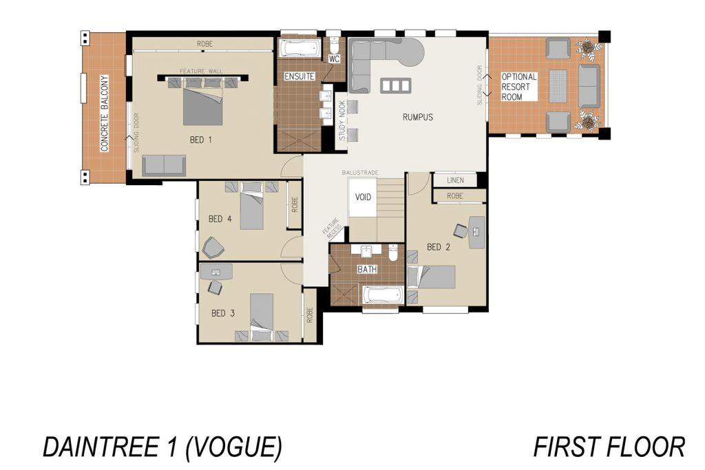 Floorplan - Daintree Home Design   First Floor - Double Storey