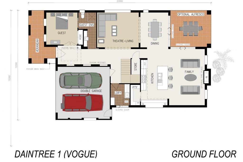 Floorplan - Daintree Home Design   Ground Floor - Double Storey