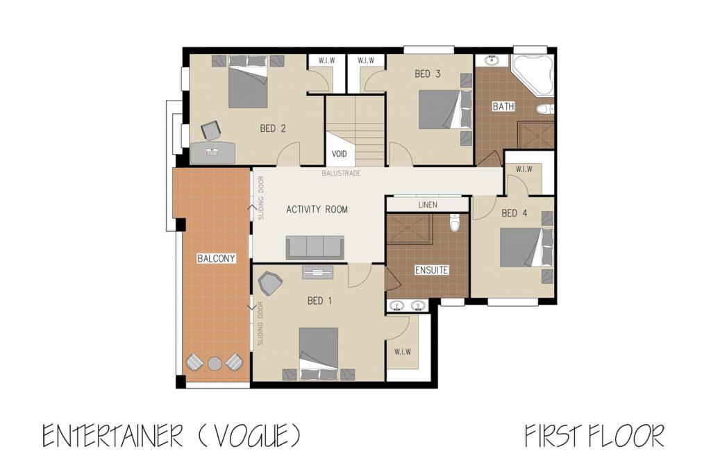 Floorplan - Entertainer Home Design   First Floor - Double Storey
