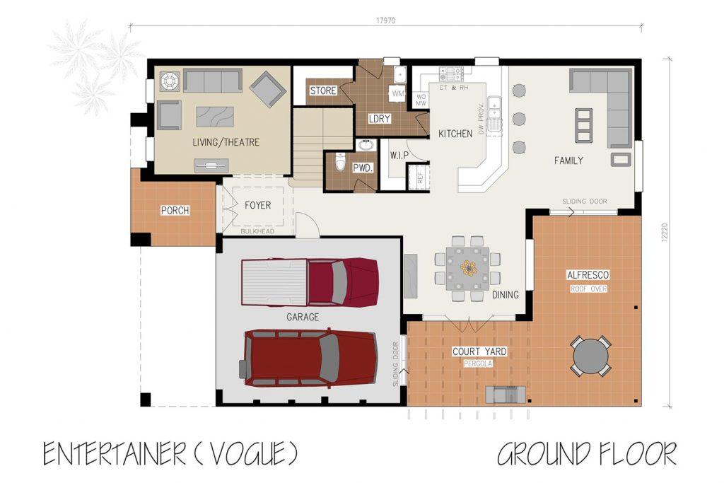 Floorplan - Entertainer Home Design   Ground Floor - Double Storey