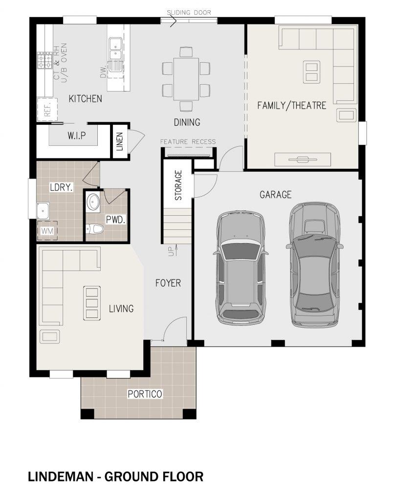 Floorplan - Lindeman Home Design | Ground Floor - Double Storey