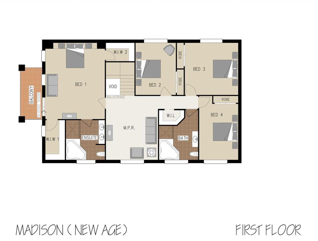 Floorplan - Madison Home Design   First Floor - Double Storey