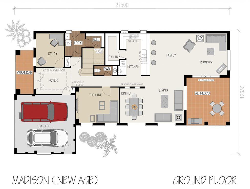 Floorplan - Madison Home Design   Ground Floor - Double Storey