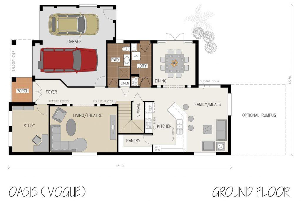Floorplan - Oasis Home Design | Ground Floor - Double Storey