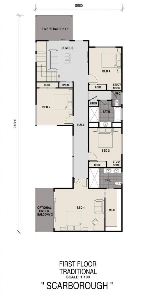 Floorplan - Scarborough Home Design   First Floor - Double Storey