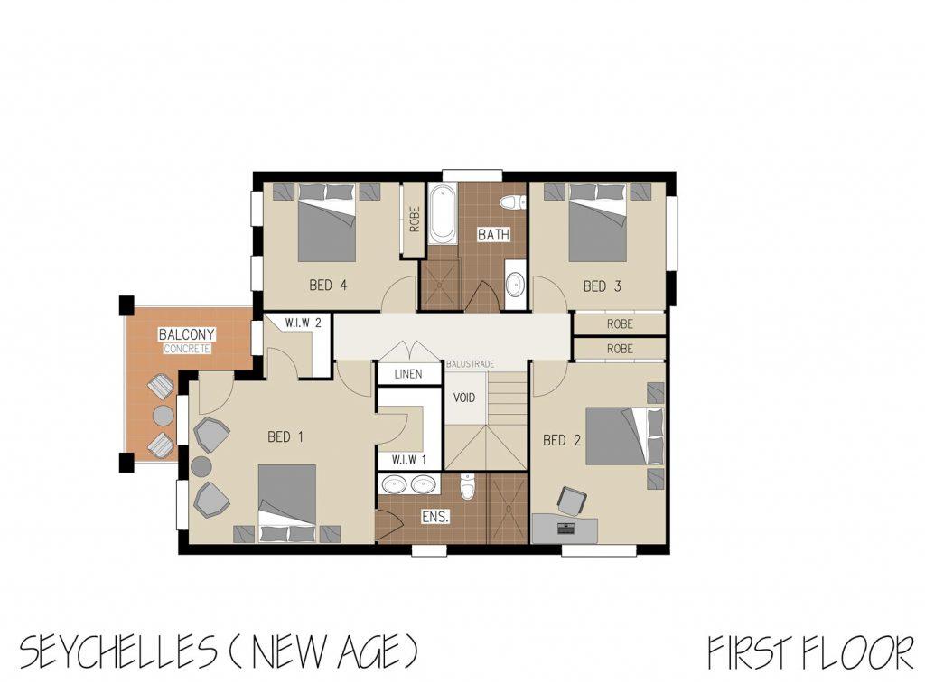Floorplan - Seychelles Home Design | First Floor - Double Storey