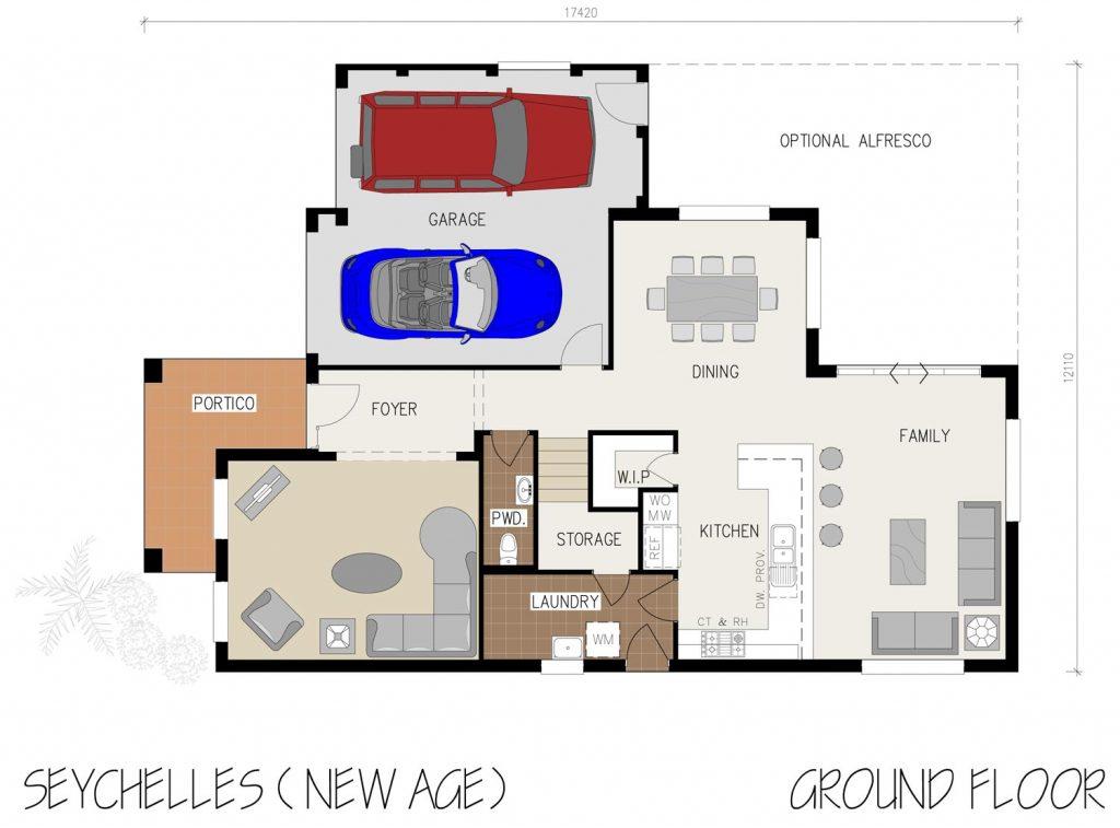 Floorplan - Seychelles Home Design | Ground Floor - Double Storey