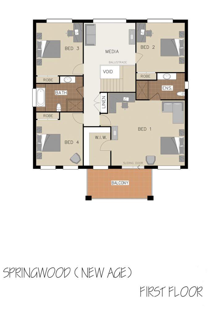 Floorplan - Springwood Home Design   First Floor - Double Storey