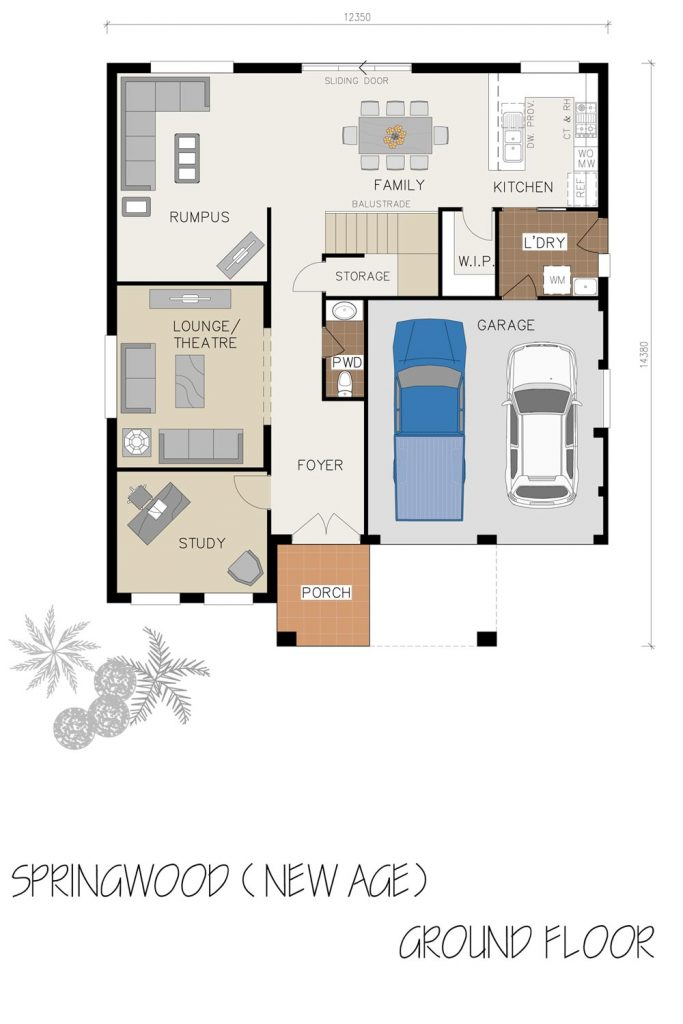 Floorplan - Springwood Home Design   Ground Floor - Double Storey