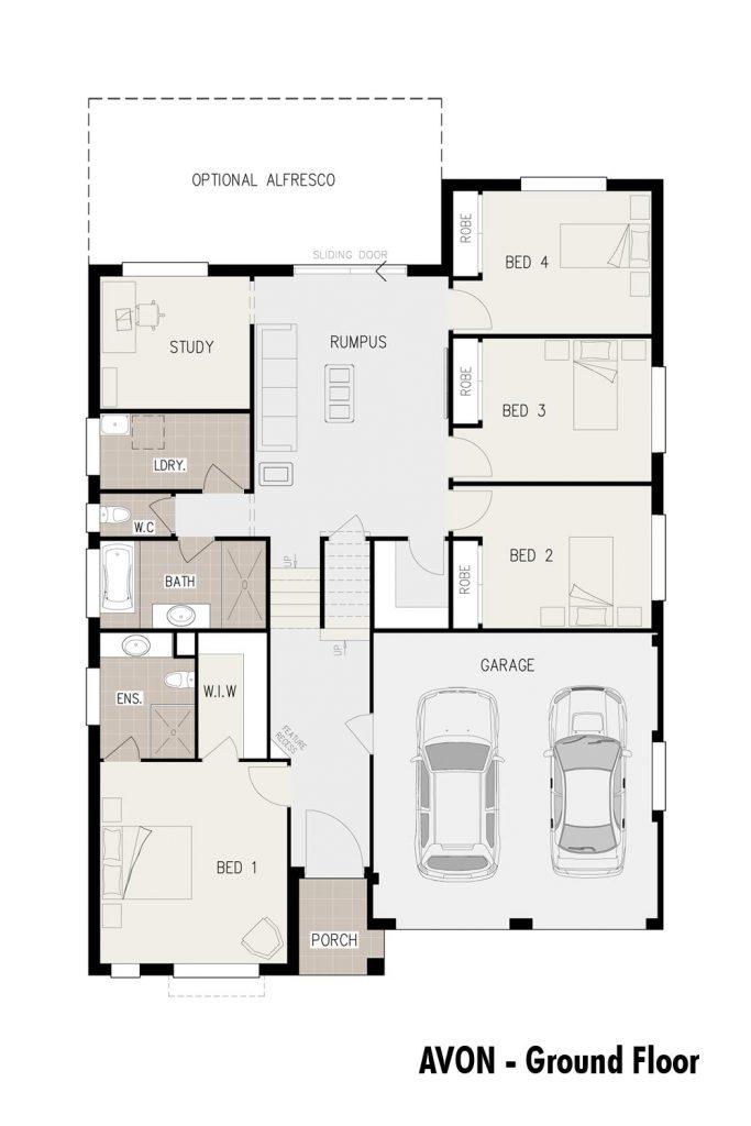 Floorplan - Avon Home Design   Ground Floor - Split Level