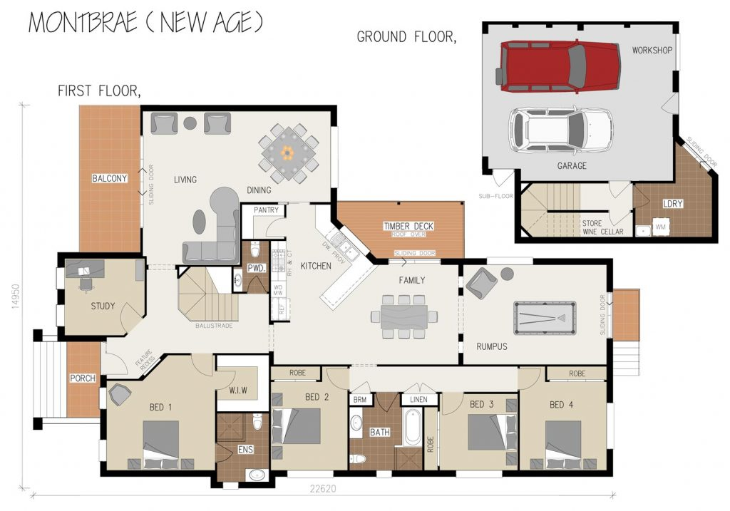 Floorplan - Montbrae Home Design   Split Level