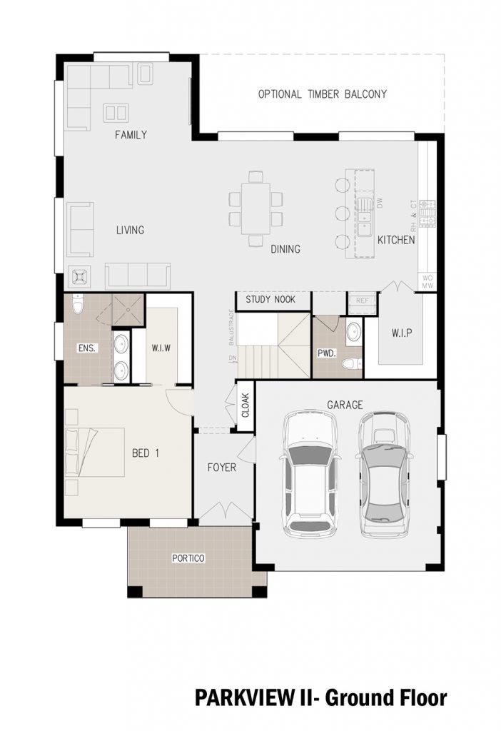 Floorplan - Parkview Home Design | Ground Floor - Split Level