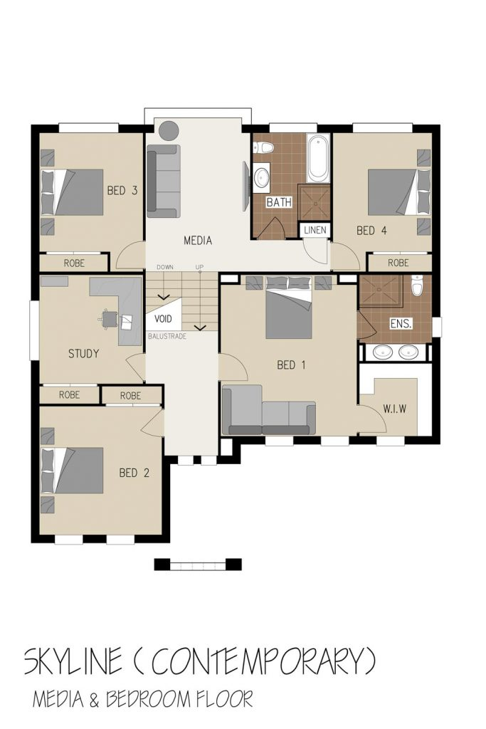 Floorplan - Skyline Home Design | First Floor - Split Level