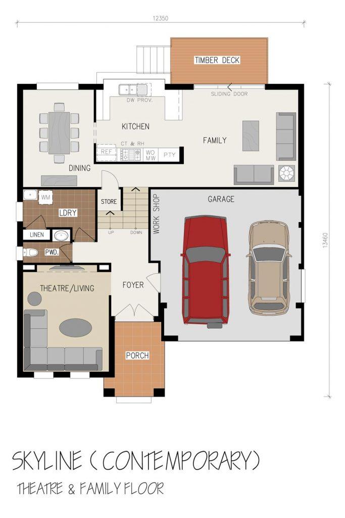 Floorplan - Skyline Home Design | Ground Floor - Split Level