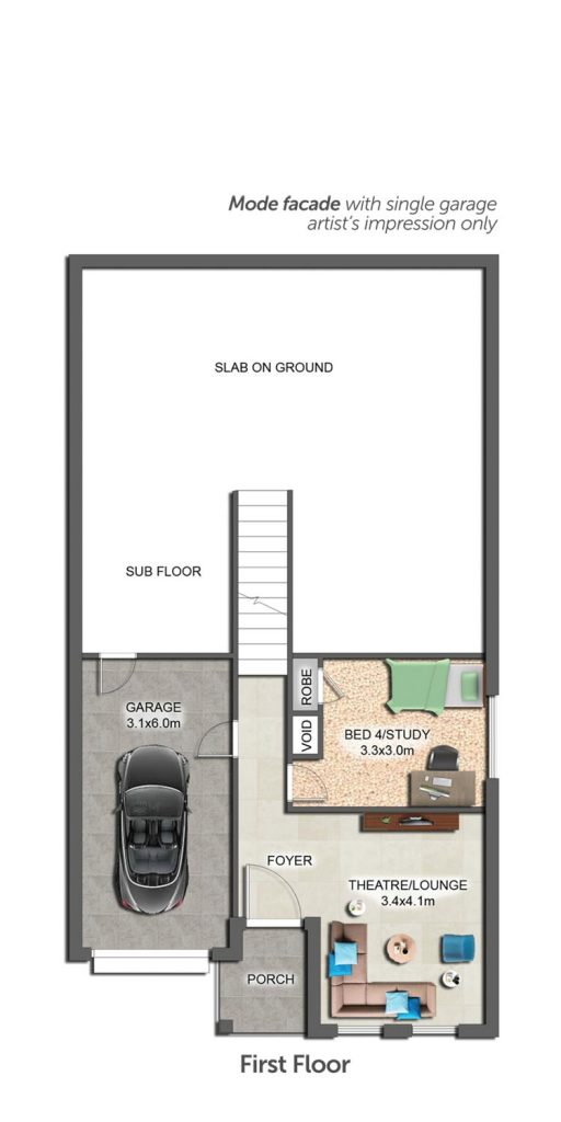 Floorplan - Ascent II Home Design   First Floor - Split Level
