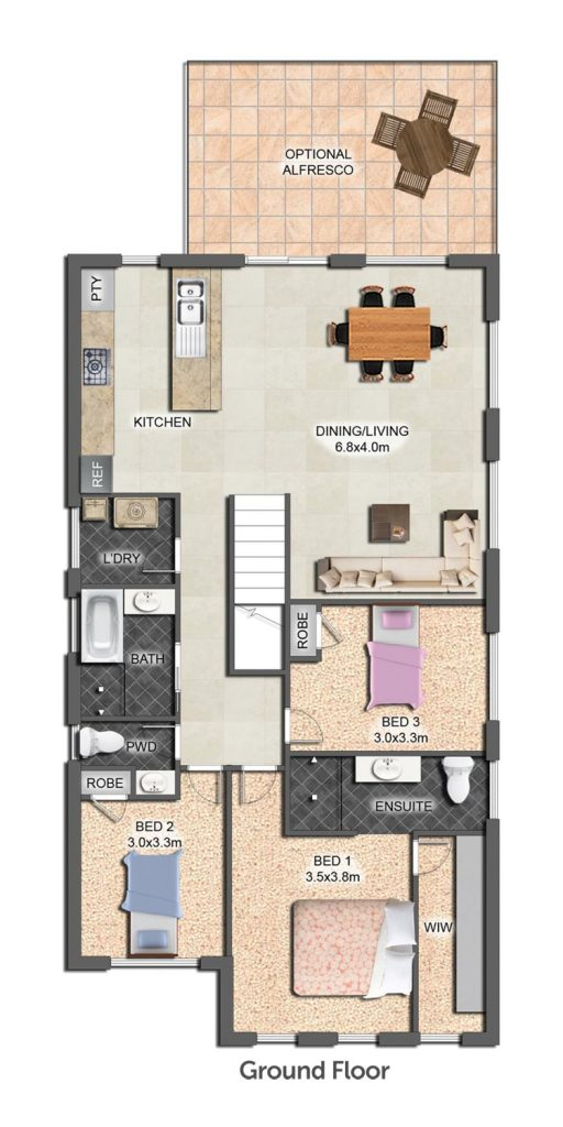 Floorplan - Ascent II Home Design   Ground Floor - Split Level