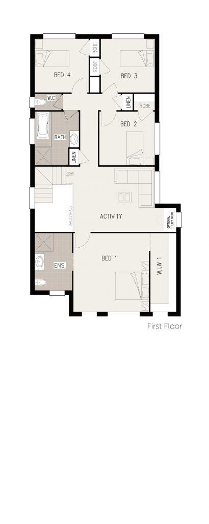 Floorplan - Charis-4 Home Design | Inspirations Range - Double Storey | First Floor