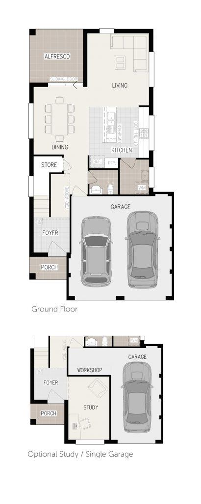 Floorplan - Charis-4 Home Design | Inspirations Range - Double Storey | Ground Floor