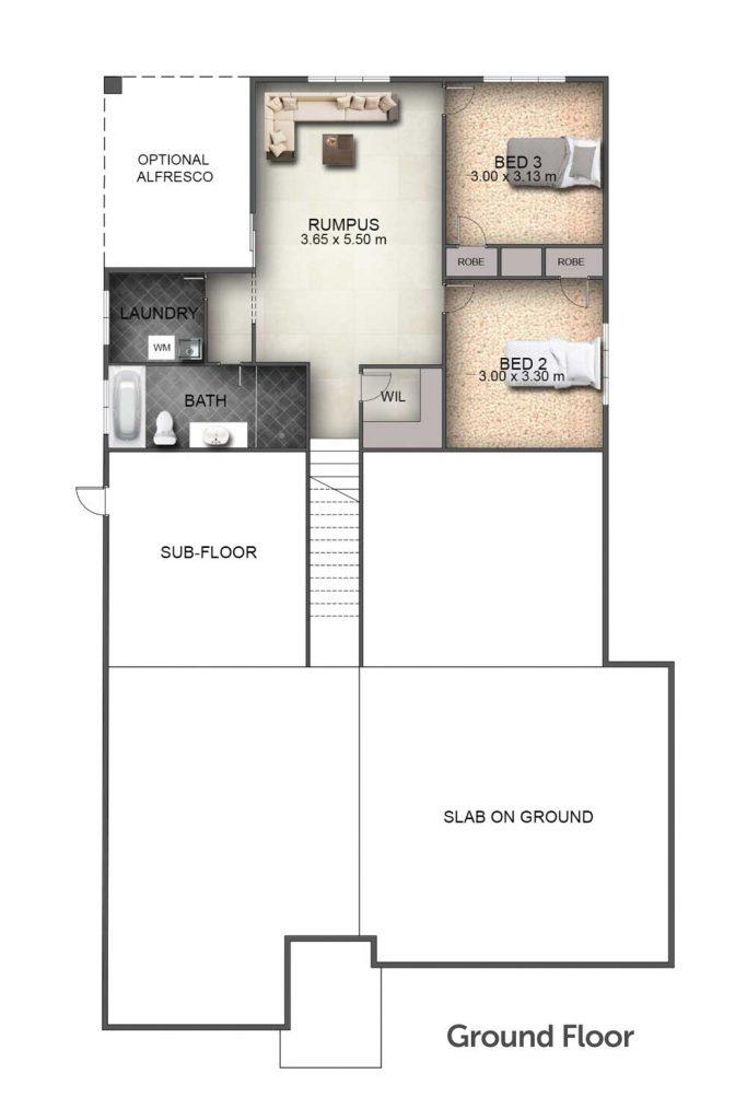 Floorplan - Sundowner I Home Design   Ground Floor - Split Level