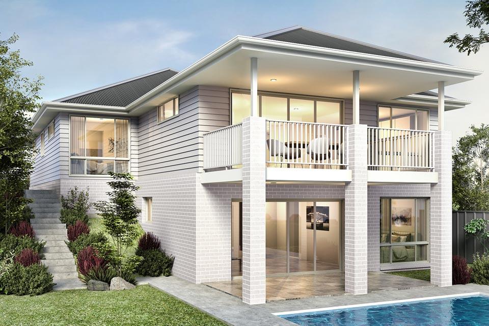Split Level - Nevada Home Design - Facade - Hamptons - Rear View