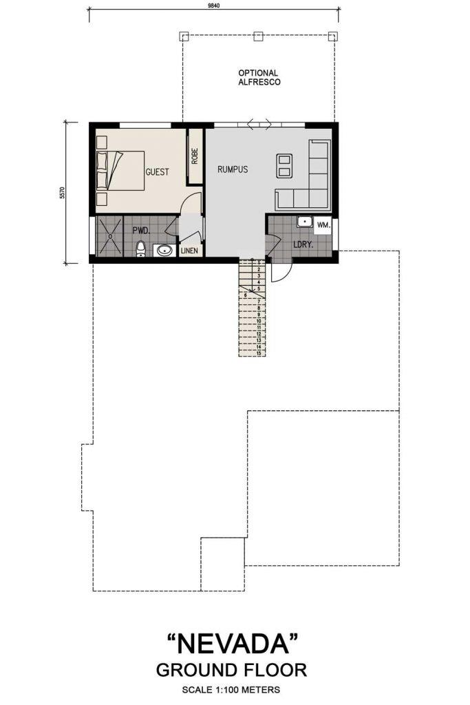 Floorplan - Nevada Home Design | Ground Floor - Split Level